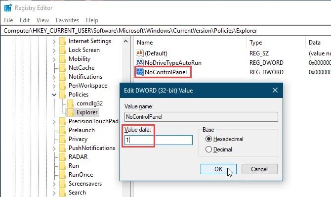 Установите значение NoControlPanel равным 1 в редакторе реестра Windows 10
