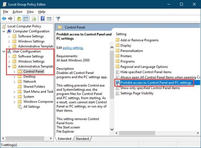 Fare doppio clic su Proibisci l'accesso a Pannello di controllo e Impostazioni PC nell'Editor criteri gruppo locale in Windows 10