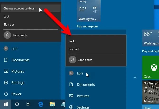 Opzione Modifica impostazioni account rimossa dal menu utente del menu Start in Windows 10