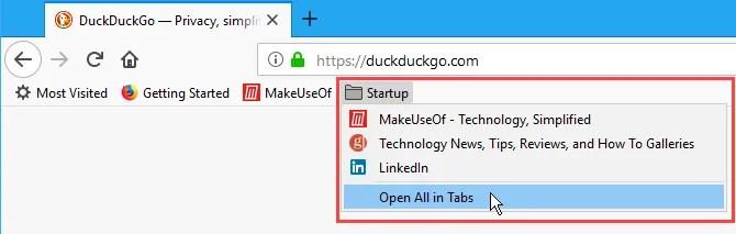 Apri tutti i segnalibri in schede in Firefox