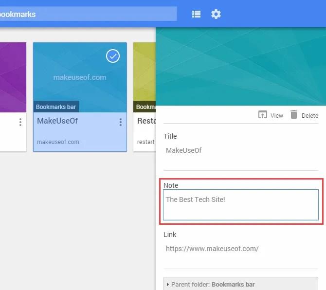 Aggiungi una nota a un segnalibro utilizzando Gestione segnalibri in Chrome