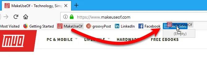 Trascina un segnalibro in una cartella sulla barra dei segnalibri in Firefox