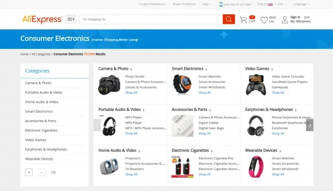 Mercato online di AliExpress
