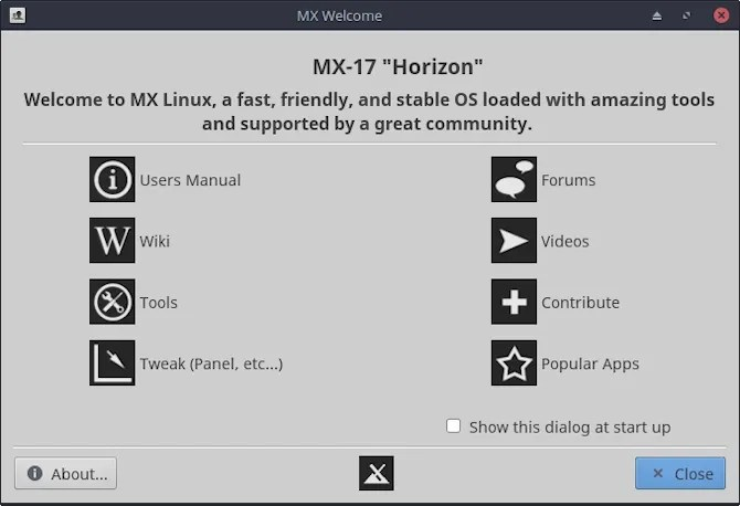 mx linux schermata di benvenuto