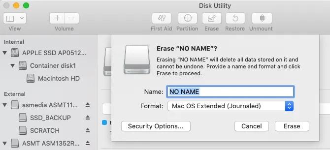 Как стереть флешку из Дисковой утилиты на Mac