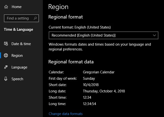 Windows Cambia il formato regionale