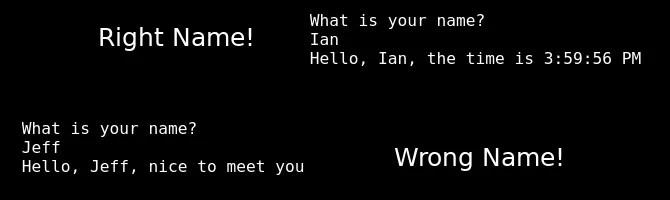 L'output per il nome corretto e qualsiasi altro input
