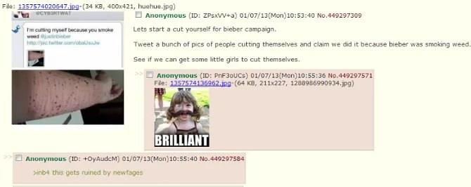 post di cutforbieber su 4chan