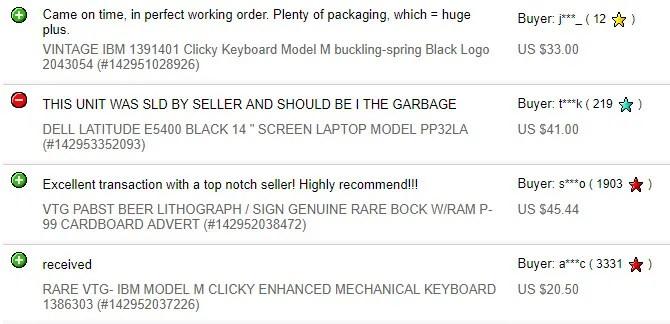 feedback venditore ebay