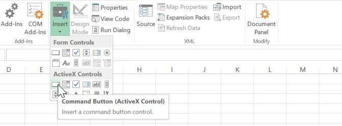aggiungendo pulsante in Excel