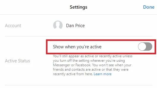 Attiva / disattiva stato attivo di Facebook Messenger