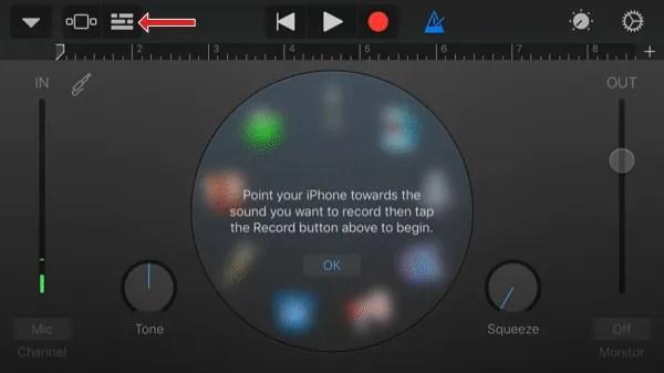 Schermo del registratore audio dell'app GarageBand