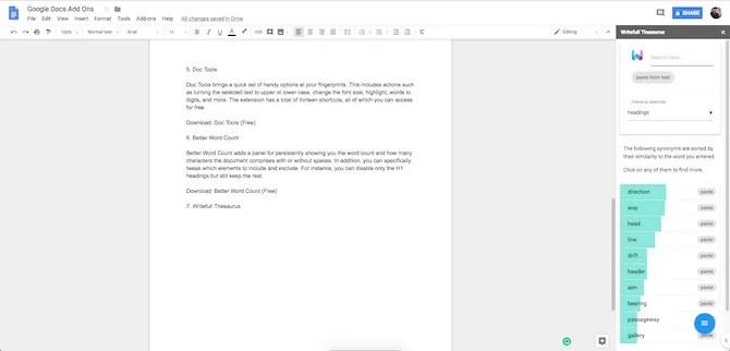 Componente aggiuntivo Thesaurus di Google Docs