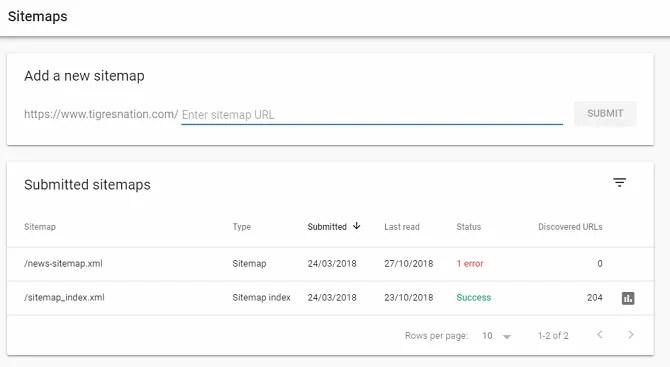 google aggiungi sitemap