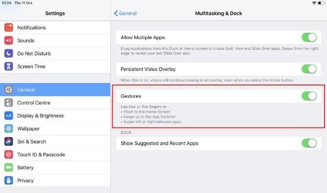 Attivare i gesti multitouch su iPad