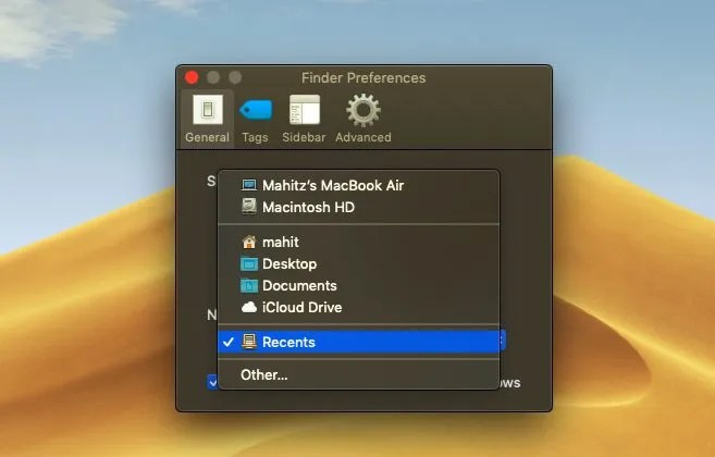 cartella di default di macos finder