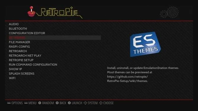 sfoglia il menu di configurazione di RetroPie