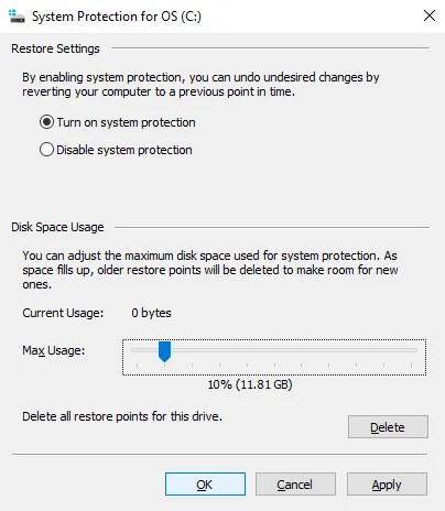 Imposta lo spazio su disco assegnato a Ripristino configurazione di sistema