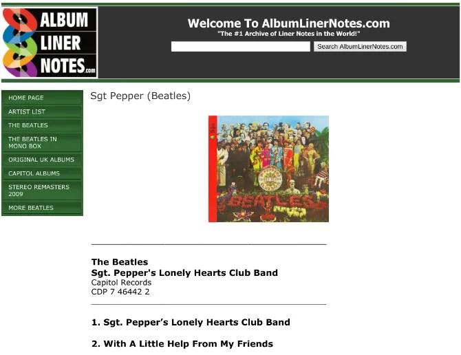 Vedi le note di copertina per qualsiasi album su AlbumLinerNotes.com