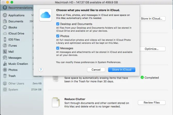 archivia i file in iCloud