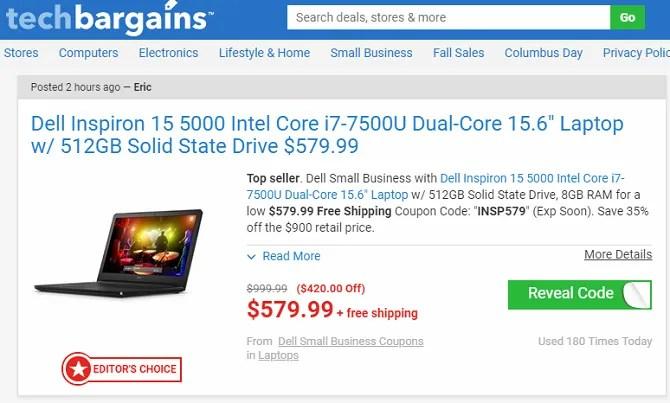 pagina di offerte di techbargains