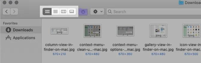 della barra degli strumenti pulsanti-per-finder-views-on-mac