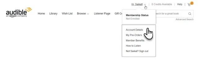 Accedi al sito desktop Audible.