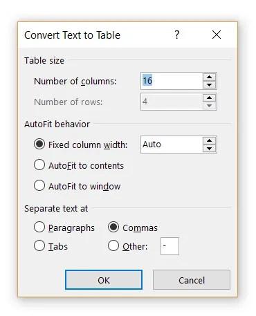 Specificare righe e colonne per tabella.