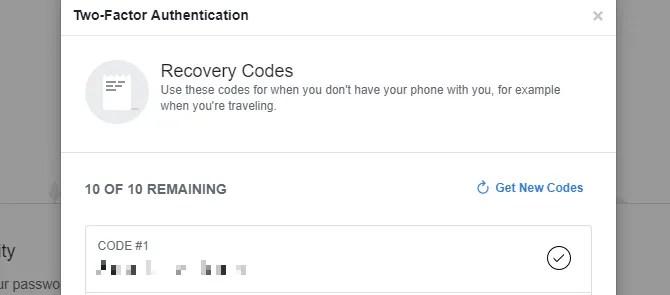 Codici di recupero di Facebook