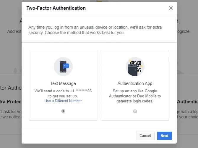 Scegli il metodo che desideri utilizzare per l'autenticazione a due fattori di Facebook.