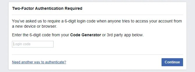 Facebook two-factor authentication login code required.