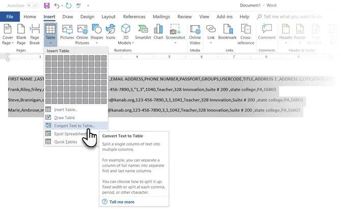 Microsoft Word Converti testo in tabella