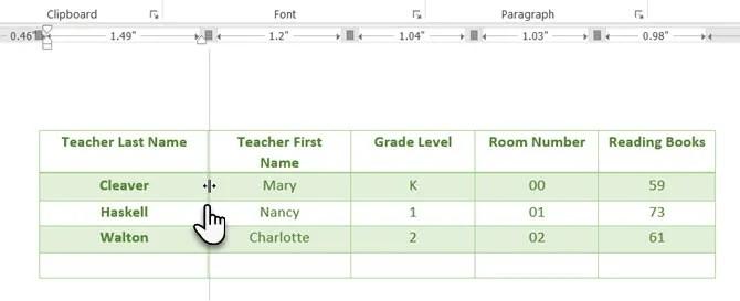 Utilizzare il righello Microsoft Word per posizionare le tabelle