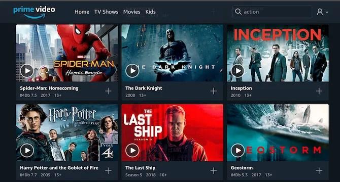 Categorie di ricerca video di Amazon Prime
