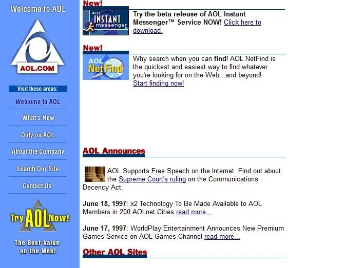 Screenshot of AOL's website in 1997
