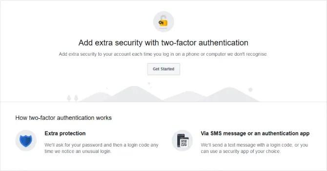 Aggiunta dell'autenticazione a due fattori su Facebook