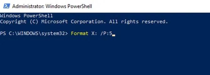 Pulire un HDD utilizzando Windows PowerShell