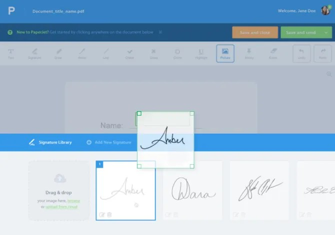 paperjet consente di modificare e firmare file PDF online