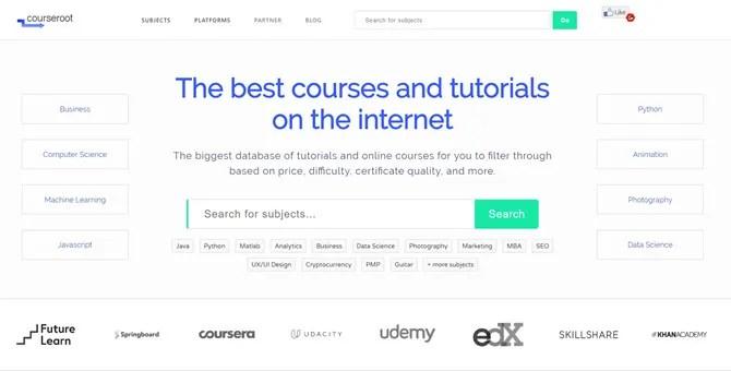 Courseroot - محرك بحث MOOC