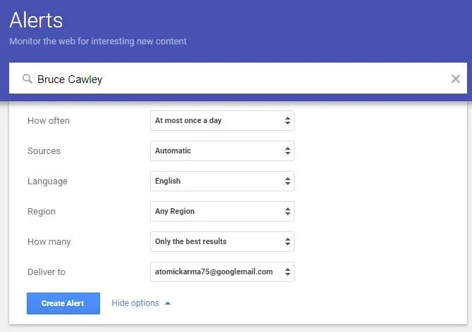 Используйте Google Alerts, чтобы проверить себя в Интернете