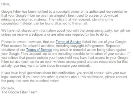 google fiber dmca copyright infringement notice