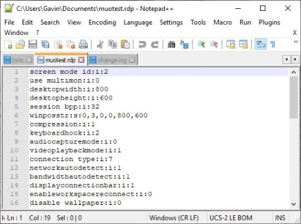 remote desktop connection custom configuration notepad++