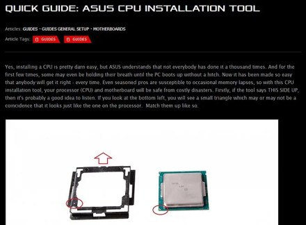 Everything you need to build a PC - CPU installation tool