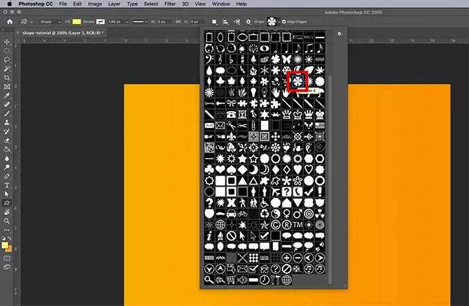 How to Use Custom Shape Tool Photoshop Shape Dropdown Menu