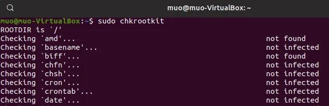 linux antivirus chkrootkit command line