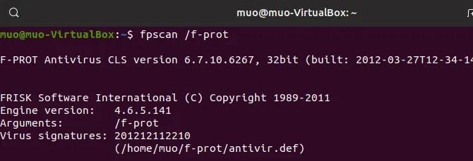 linux antivirus f-prot command line
