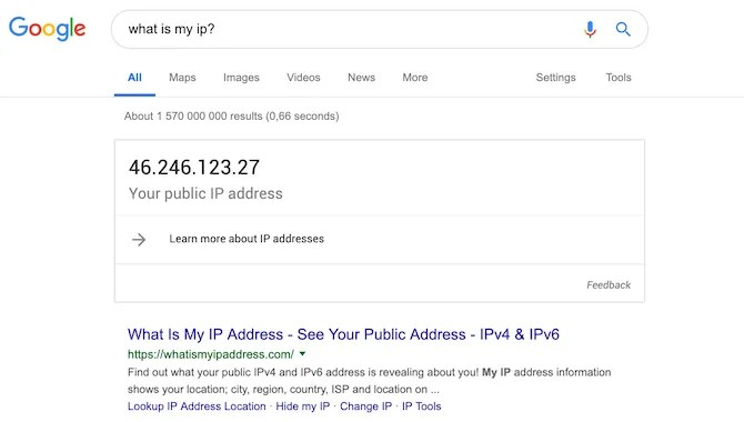 screenshot of asking google what is my ip