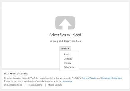 youtube upload privacy menu