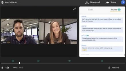 Roundee records video conference calls and lets you add timestamped notes for minutes of the meeting