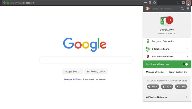 Screenshot of the DuckDuckGo Browser Extension - The Internet Tips